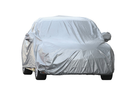 dirty car: Car cover (with clipping path) isolated on white background