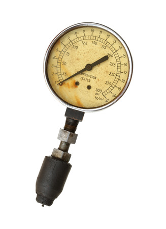 pressure gauge: Compression tester gauge isolated on white background