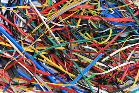 scrap: PVC scrap of electric wire texture background