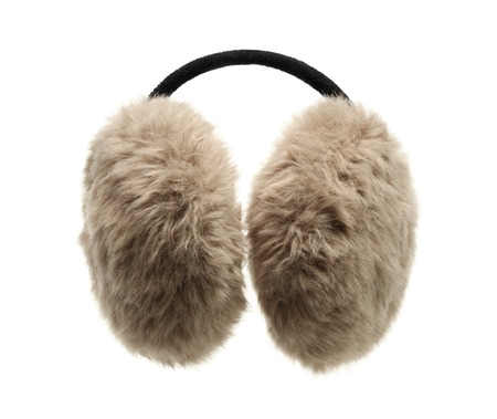 muff: Fuzzy ear muff isolated on white background