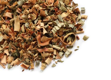 pandan: Thai herbal tea (lemongrass, mulberry leaves, pandan) on white background