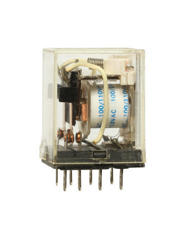 carrera de relevos: interruptor de relé transparente aislada en el fondo blanco Foto de archivo