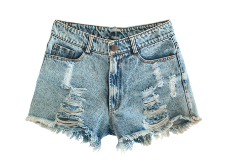 jeanswear: Ripped jeans shorts isolated on white background Stock Photo