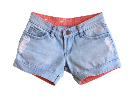 jeanswear: Women jeans shorts isolated on white background