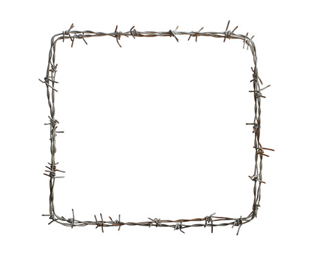 barbed wire frame: Barbed wire square isolated on white background