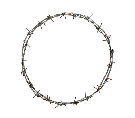 Barbed wire circle isolated on white background