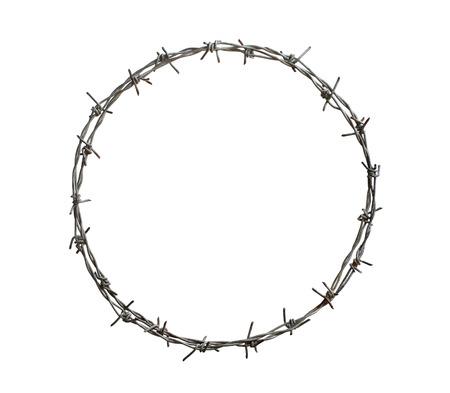 Prikkeldraad cirkel op een witte achtergrond