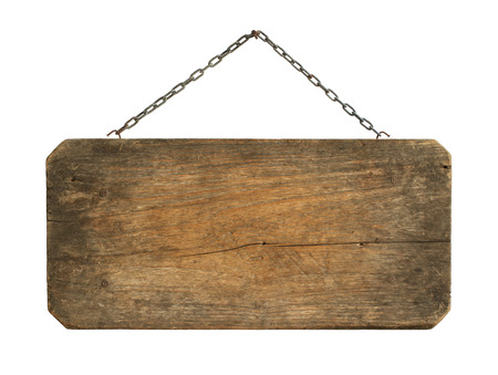 old sign: Wooden sign hanging isolated on white background