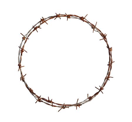 白い背景で隔離の有刺鉄線円