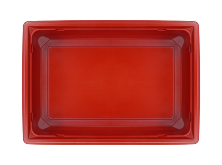 Plastic food box, top view (with clipping path) isolated on white background Stock Photo