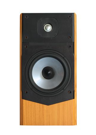 Speaker, wooden box  isolated on white background