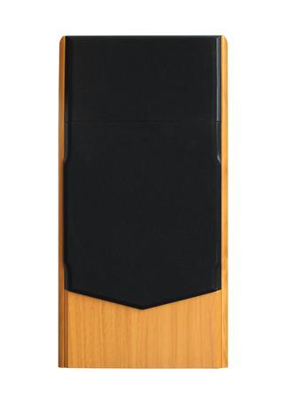 Speaker, wooden box isolated on white background Stock Photo