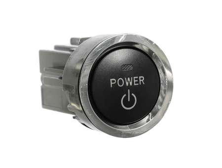 Car power engine start stop switch isolated on white background