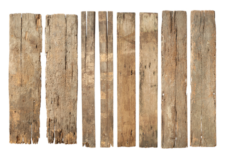 Wood plank weathered damaged set (with clipping path) isolated on white background Banque d'images