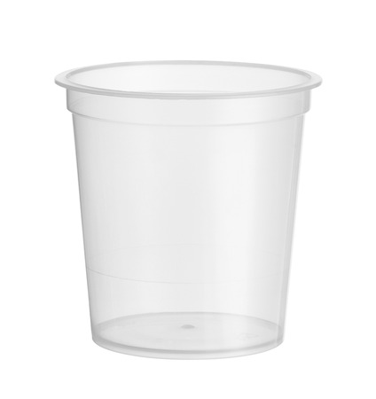 Plastic cup disposable dessert glass (with clipping path) isolated on white background 스톡 콘텐츠