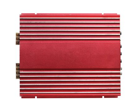 Power amplifier for car isolated on white background 版權商用圖片