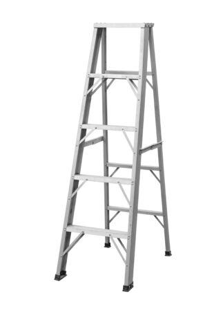 Aluminum step ladder foldable isolated on white background Stock Photo