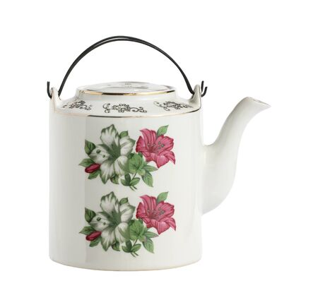 Vintage chinese teapot ceramic clay enamel isolated on white background