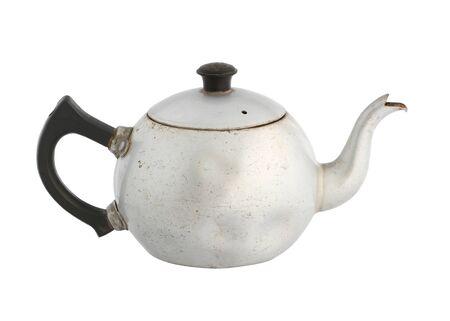 Vintage chinese teapot aluminum kettle isolated on white background