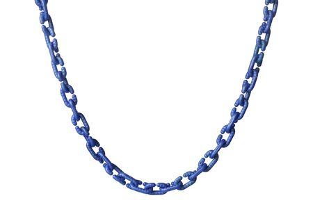 Collar de eslabones de cadena de plástico (con trazado de recorte) aislado sobre fondo blanco. Foto de archivo