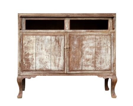 Vintage wooden cabinet isolated on white background