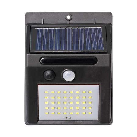 Solar motion sensor led wall light isolated on white background