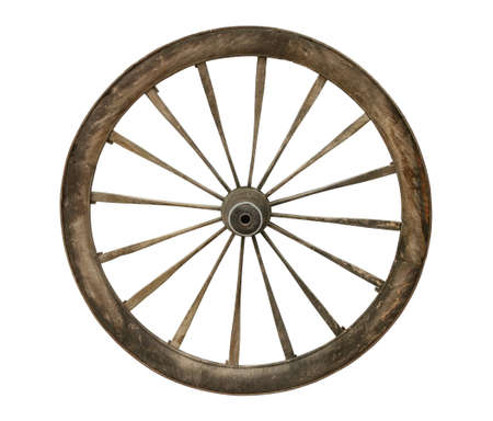 Old wooden wagon wheel isolated on white
