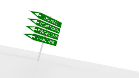 Road signs  Doubts, confusion, problems, failure
