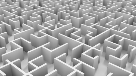 A 3D endless maze   I added a very little noise to eliminate the banding problem Stock Photo