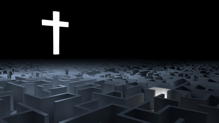A cross that illuminates a maze, while a light approaching