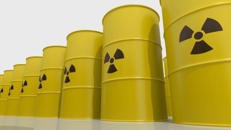 Yellows barrels containing radioactive material  Dolly shot photo