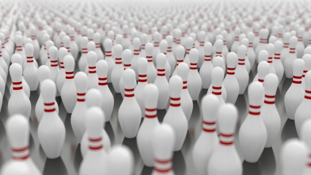 Thousands of bowling pins with shallow depth of field