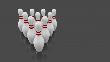 Bowling pins group  Game ready to start
