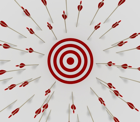 Tens of arrows that have missing  the target Stock Photo