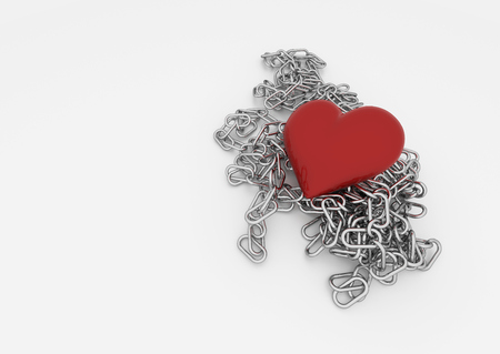 Red heart on a chain with white background