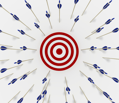 Tens of arrows that have missed the target Stockfoto