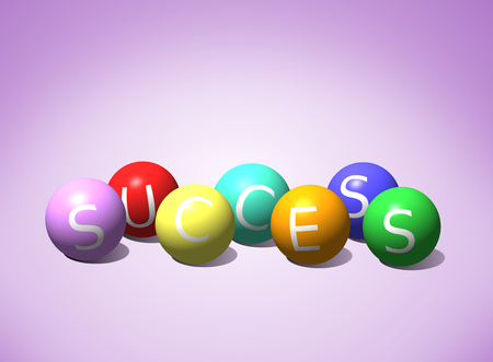 Seven colored spheres forming the word success