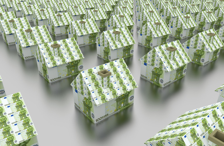 group of houses made of banknotes. Euro bill