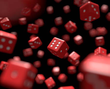Dozens of reds dice falling. Cg image with shallow depth of field