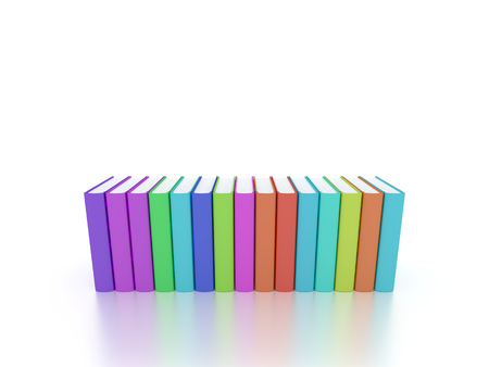 group of books with colorful covers and white background