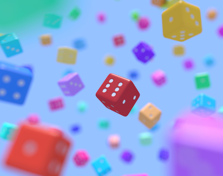 Dice with different colors that fall from the sky