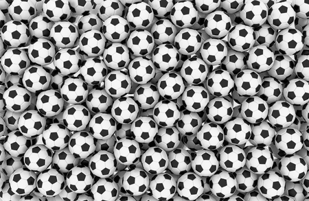 Tens of soccer balls forming a wall