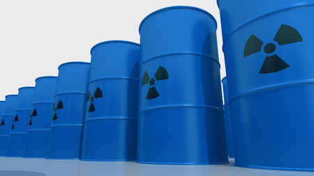 Blue barrels containing radioactive material.