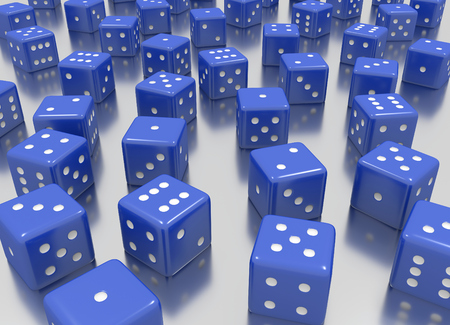 Tens of blue dice arranged in a random position
