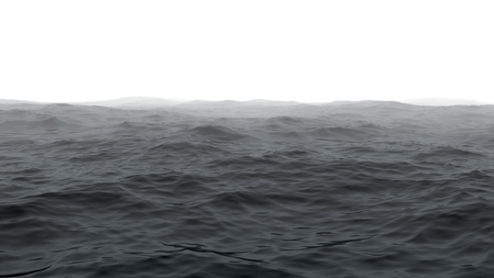 Rendering of a ocean with the horizon covered by fog