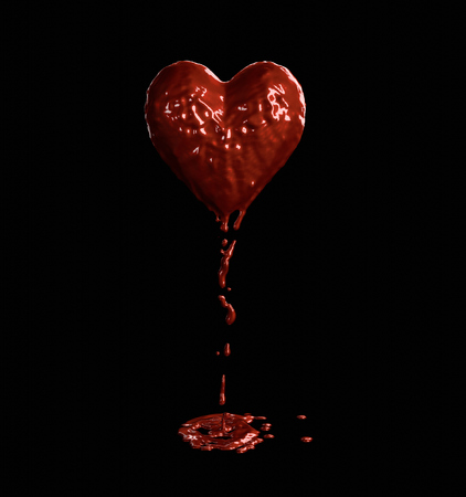 blood flowing from a red heart. Black background Stock Photo