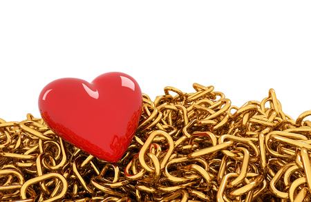 Red heart on golden chain. White background
