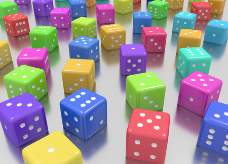 Tens of dice arranged in random positions and random colors