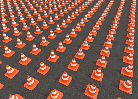 Hundreds of traffic cones arranged in a row on the asphalt