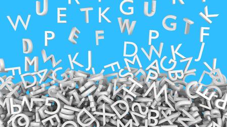 White alphabet letter fall. Light blue background